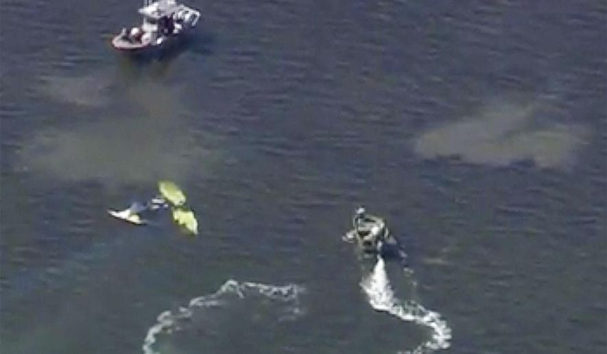 In this image provided by WTVT-TV FOX 13 Tampa Bay, authorities investigate a small plane crash in the Gulf of Mexico, near Holiday, Fla. on Tuesday, Nov. 7, 2017. Authorities have confirmed that former Major League Baseball pitcher Roy Halladay died in a small plane crash in the Gulf of Mexico off the coast of Florida. (WTVT-TV FOX 13 Tampa Bay, via AP)
