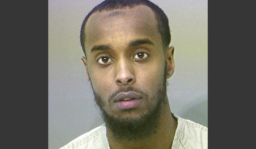 FILE - This undated file photo provided by the Franklin County Sheriff's Office shows Abdirahman Sheik Mohamud. A federal judge has set a new sentencing date for Mohamud, an Ohio man who admitted he plotted to kill military members in the U.S. Defendant Mohamud, of Columbus, pleaded guilty in August 2015 to supporting terrorism and making false statements to authorities. (AP Photo/Franklin County Sheriff's Office via AP, File)