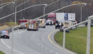 Emergency personal respond to a Pennsylvania State Police corporal being shot during a traffic stop Tuesday, Nov. 7, 2017,  in Plainfield Township, Northampton County, Pa., prompting a massive pursuit south to Easton Hospital where police said they apprehended a suspect in the shooting.   (April Gamiz/The Morning Call via AP)