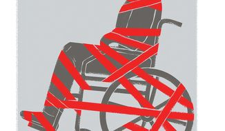 Illustration on bureaucracy and the disabled by Linas Garsys/The Washington Times