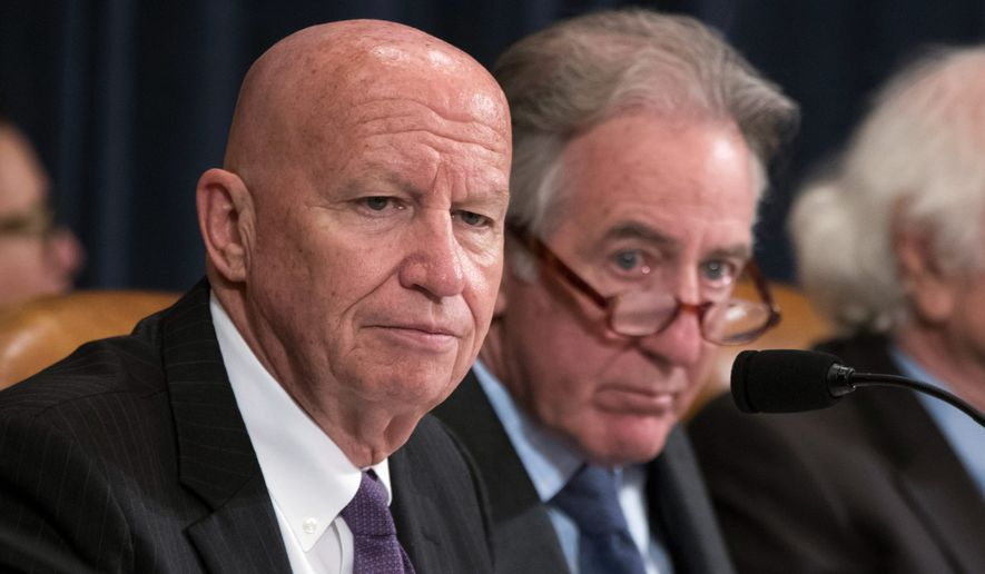 "A White House cabal called the ""Tax Team"" has kept pressure on House Ways and Means Committee Chairman Kevin Brady (left) to stay in sync with President Trump's priorities. (Associated Press)"