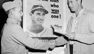 Ted Williams played his entire 19-year MLB career as a left fielder for the Boston Red Sox from 1939 to 1960, only interrupted by service time during World War II and the Korean War. In January 1942, after World War II began, Williams was drafted into the military, being put into Class 1-A. Williams joined the Navy Reserve on May 22, 1942, went on active duty in 1943, and was commissioned a second lieutenant in the United States Marine Corps as a Naval Aviator on May 2, 1944. Williams also played on the baseball team in Chapel Hill, North Carolina, along with his Red Sox teammate Johnny Pesky in pre-flight training, after eight weeks in Amherst, Massachusetts, and the Civilian Pilot Training Course. While on the baseball team, Williams was sent back to Fenway Park on July 12, 1943 to play on an All-Star team managed by Babe Ruth. Williams retired from playing in 1960. He was inducted into the Baseball Hall of Fame in 1966, in his first year of eligibility.