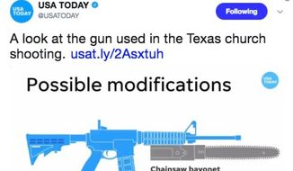"Twitter users mocked USA Today's ""chainsaw bayonet"" warning on Nov. 8, 2017. (Image: Twitter, USA Today)"