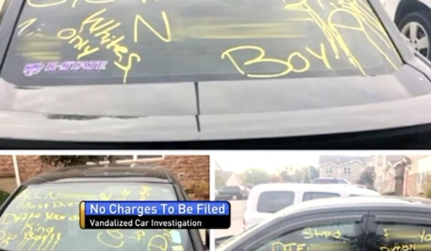 The Black Student Union at Kansas State University is demanding that charges be filed against a black man who admitted to police that he scrawled racist slurs on his own car near campus. (Fox 4 KC)