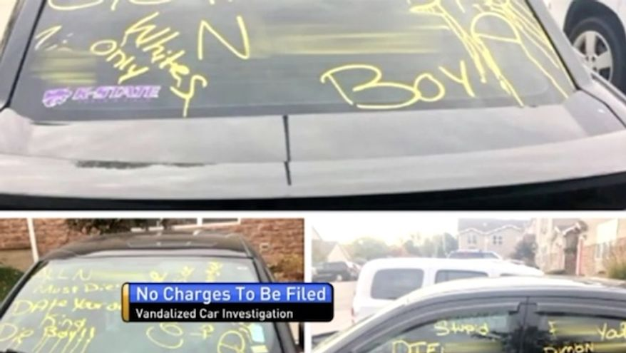 A racist note posted on a student's front door at Kansas State University was placed there by the student himself, police said Thursday, marking the school's second race hoax in the past year. In November 2017, Dauntarius Williams, of Manhattan, admitted to police that he scrawled racist messages on his own car, pictured here, near the public campus. (Fox 4 KC) ** FILE **