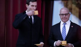 President Donald Trump's White House Senior Adviser Jared Kushner and National Security Adviser H.R. McMaster, share a drink together before President Donald Trump and Chinese President Xi Jinping arrive for a Chinese opera performance at the Forbidden City, Wednesday, Nov. 8, 2017, in Beijing, China. Trump is on a five country trip through Asia traveling to Japan, South Korea, China, Vietnam and the Philippines. (AP Photo/Andrew Harnik)