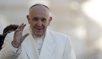 Pope Francis arrives for his weekly general audience, in St. Peter's Square, at the Vatican, Wednesday, Nov. 8, 2017. (AP Photo/Andrew Medichini)