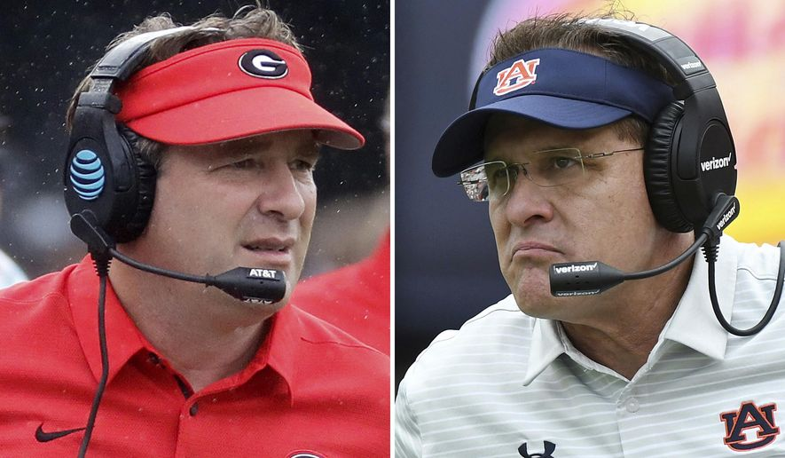 FILE - At left, in an Oct. 7, 2017, file photo, Georgia head coach Kirby Smart watches from the sideline in the first half of an NCAA college football game against Vanderbilt in Nashville, Tenn. At right, in an Oct. 7, 2017, file photo, Auburn head coach Gus Malzahn watches during the second half of an NCAA college football game against Mississippi, in Auburn, Ala. Georgia plays at No. 10 Auburn on Saturday.  (AP Photo/File)