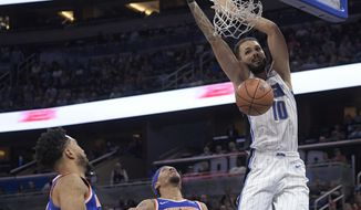 Orlando Magic forward Evan Fournier (10) dunks in front of New York Knicks guard Courtney Lee, left, and forward Michael Beasley (8) during the first half of an NBA basketball game Wednesday, Nov. 8, 2017, in Orlando, Fla. (AP Photo/Phelan M. Ebenhack)