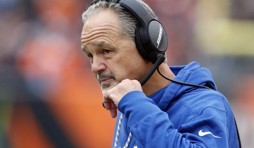 FILE - In this Oct. 29, 2017, file photo, Indianapolis Colts head coach Chuck Pagano works the sidelines in the first half of an NFL football game against the Cincinnati Bengals in Cincinnati. Other than Hue Jackson in Cleveland, the fire figures to burn very hot under the Buccaneers' Dirk Koetter; the Giants' Ben McAdoo; the Bengals' Marvin Lewis, whose contract is up this year; yet the Colts' Pagano, could get a pass because he's had no luck with his passer. (AP Photo/Gary Landers, File)