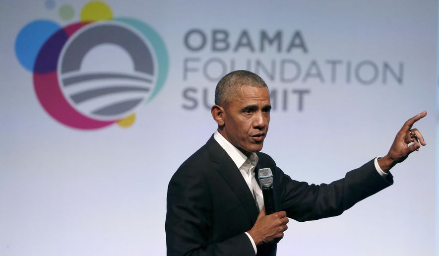 FILE - In this Oct. 31, 2017 file photo, former President Barack Obama addresses a crowd during the first session of the Obama Foundation Summit, in Chicago. The former President is expected to appear for jury duty Wednesday Nov. 8, 2017. A senior law enforcement official who has been briefed says Obama is scheduled to show up for jury duty this morning at the Richard J. Daley Center in downtown Chicago. (AP Photo/Charles Rex Arbogast File)