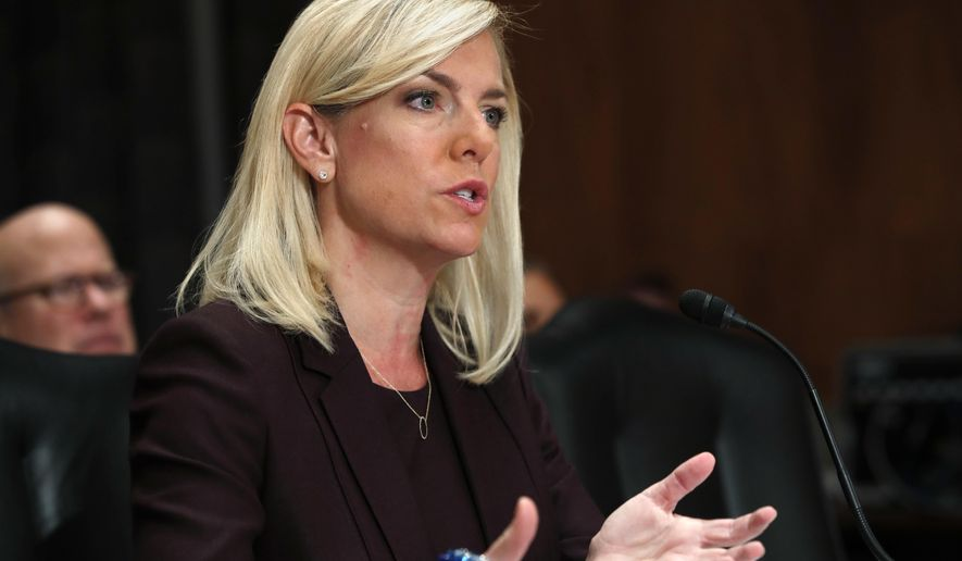 Kirstjen Nielsen testifies during a Senate Homeland Security and Governmental Affairs committee hearing on her nomination to be Department of Homeland Security Secretary, Wednesday, Nov. 8, 2017, on Capitol Hill in Washington. (AP Photo/Jacquelyn Martin)