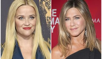 """This combination photo shows actresses Reese Witherspoon at the 69th Primetime Emmy Awards in Los Angeles, left, and Jennifer Aniston at a screening of """"Office Christmas Party"""" in New York. Witherspoon and Aniston will star in and produce in an untitled  behind-the-scenes drama about a TV morning show for the  Apple streaming service.  (AP Photo/File)"""