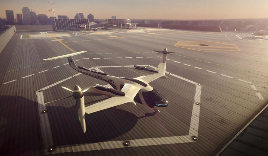 This computer generated image provided by Uber Technologies on Wednesday, Nov. 8, 2017 shows a flying taxi by Uber. Commuters of the future could get some relief from congested roads if Uber's plans for flying taxis work out. The ride-hailing service has unveiled an artist's impression of the sleek, futuristic machine it hopes to start using for demonstration flights in 2020 and deploy for ride-sharing by 2028. (Uber Technologies via AP)