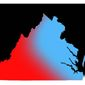 Illustration on the changing political demographic of the state of Virginia by Alexander Hunter/The Washington Times