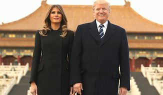President Trump and first lady in Beijing this week, midway in a five-country trip through Asia. Yes, Mr. Trump has continued to tweet throughout their travels. An organization recently analyzed his tweets. (Associated Press)