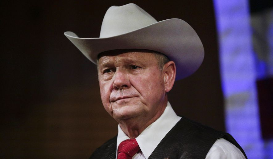 In this Monday, Sept. 25, 2017, file photo, former Alabama Chief Justice and U.S. Senate candidate Roy Moore speaks at a rally, in Fairhope, Ala. According to a Washington Post story Nov. 9, an Alabama woman said Moore made inappropriate advances and had sexual contact with her when she was 14. (AP Photo/Brynn Anderson, File)