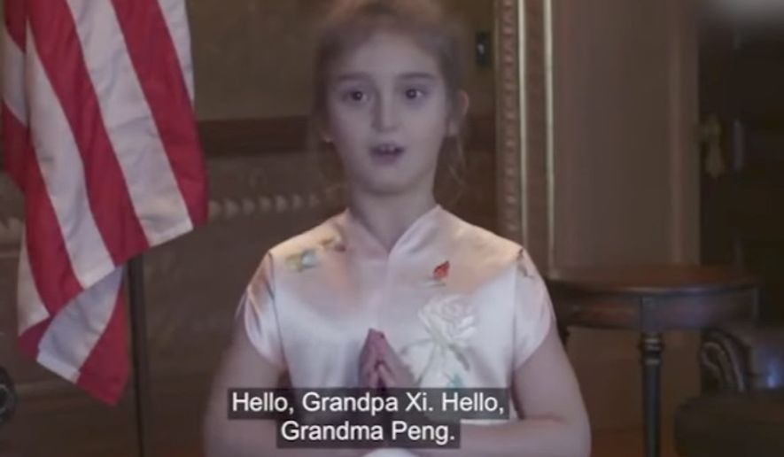 President Trump's 6-year-old granddaughter, Arabella Kushner, has become somewhat of a child star in China for singing in Mandarin, Chinese President Xi Jinping told Mr. Trump during their meeting Wednesday in Beijing.  (YouTube/@CGTN)