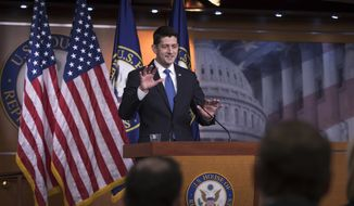 Speaker of the House Paul Ryan, R-Wis., meets with reporters as he defends the Republican tax reform legislation, on Capitol Hill in Washington, Thursday, Nov. 9, 2017. (AP Photo/J. Scott Applewhite)
