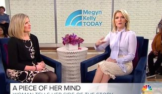 "NBC's Megyn Kelly interviews Juli Briskman, a former government contractor who was fired after she was photographed giving President Trump's motorcade the middle finger. (Image: ""Megyn Kelly Today"" screenshot)"