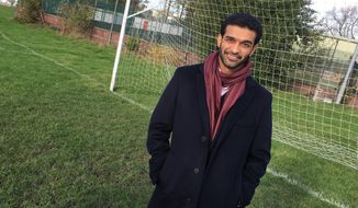 "Hassan Al Thawadi, secretary general of the 2022 Qatar World Cup Supreme Committee for Delivery & Legacy, poses for a photo following an interview with The Associated Press in Sheffield, England, on Thursday Nov. 9 2017.  Following comments earlier this year attributed to German soccer federation president Reinhard Grindel, Al Thawadi said Thursday that ""Qatar does not support terrorism. Qatar is at the forefront of the fight against terrorism.""  (AP Photo / Neil Barker)"