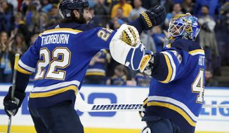 St. Louis Blues goalie Carter Hutton, right, and teammate Chris Thorburn celebrate following a 3-2 victory in a shootout over the Arizona Coyotes during an NHL hockey game Thursday, Nov. 9, 2017, in St. Louis. (AP Photo/Jeff Roberson)
