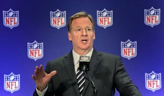 In this Oct. 18, 2017, file photo, NFL Commissioner Roger Goodell speaks during a news conference, in New York. (AP Photo/Julie Jacobson, File)