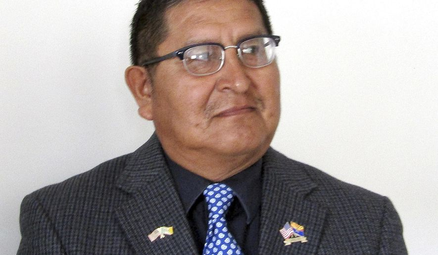 This undated photo provided by the Hopi Tribe shows Clark Tenakhongva, a candidate for tribal vice chairman, in elections that will take place Thursday, Nov. 9, 2017, on the reservation in Kykotsmovi, Ariz. (Karen Shupla/Hopi Tribe via AP)