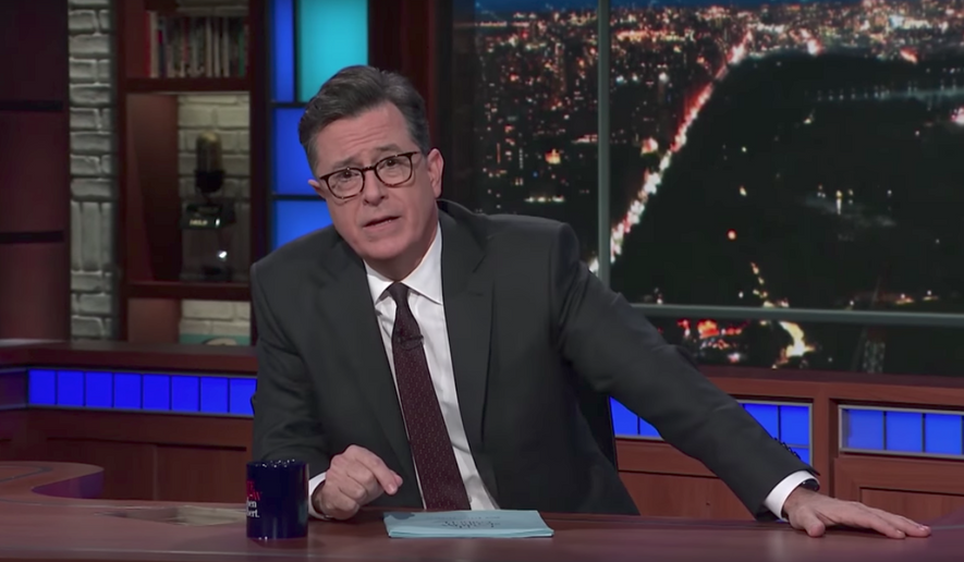 "Talk-show host Stephen Colbert addresses gun control in the wake of the Texas church massacre on ""The Late Show with Stephen Colbert"" on Nov. 6, 2017."