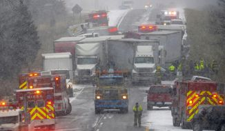 In a Thursday, Dec. 8, 2016 file photo, emergency crews work the scene of a multiple car pileup on I-96 between Webberville and Fowlerville, Mich. The National Weather Service is testing a new snow squall warning system designed to help motorists in whiteout condition avoid chain reaction crashes at high speeds. During the winter, the agency now issues advisories and warnings involving storms that can last for a day or two over a wide area. The warnings are distributed by the media and other methods. (Dave Wasinger/Lansing State Journal via AP, File)