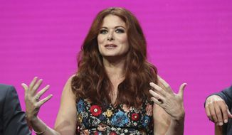 """In this Aug. 3, 2017, file photo, Debra Messing participates in the """"Will & Grace"""" panel during the NBC Television Critics Association Summer Press Tour at the Beverly Hilton in Beverly Hills, Calif. (Photo by Willy Sanjuan/Invision/AP, File)"""