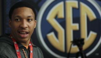 FILE - In this Oct. 18, 2017 file photo, Tennessee's Grant Williams answers questions during the Southeastern Conference men's NCAA college basketball media day in Nashville, Tenn. Williams knows he won't be able to sneak up on anybody this season. After significantly outperforming his recruiting ranking during a big freshman season, Williams knows he must play even better as a sophomore if Tennessee plans to contend for an NCAA Tournament berth. (AP Photo/Mark Humphrey, File)