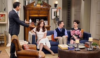 """This image released by NBC shows, from left, Eric McCormack, Debra Messing, Sean Hayes and Megan Mullally in """"Will & Grace."""" A new study says TV series are including more LGBTQ characters and adding gender-nonconforming ones. The study out Thursday, Nov. 9, 2017, from the media advocacy group GLAAD says that LGBTQ depictions increased in the current season across all TV platforms. But GLAAD said there remains a need for greater ethnic diversity among LGBTQ characters and richer, more complex stories about their lives. (Chris Haston/NBC via AP)"""