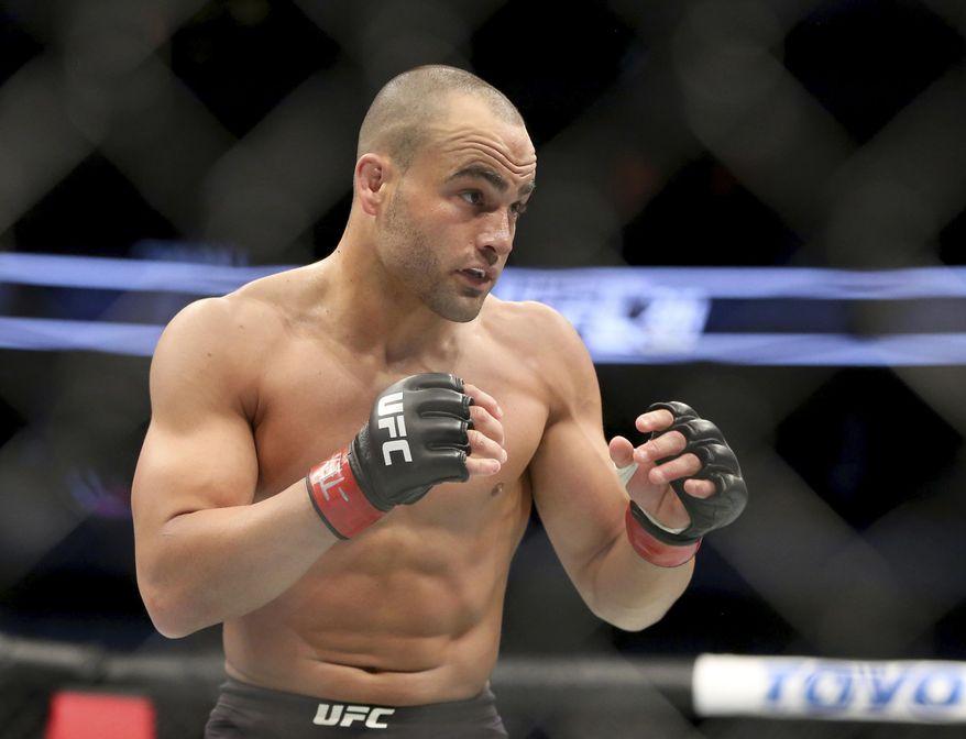"FILE - In this May 13, 2017, file photo, Eddie Alvarez competes at UFC 211 in Dallas.  Alvarez is a coach on UFC's long-running reality series, ""The Ultimate Fighter."" Alvarez (28-5, 1 NC) will fight Justin Gaethje (18-0) at the end of the season in a 155-pound bout on Dec. 2 at UFC 218 in Detroit. (AP Photo/Gregory Payan, File)"