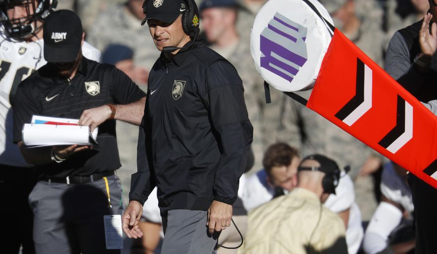 Army head coach Jeff Monken looks on during the second half of an NCAA college football game against Air Force, Saturday, Nov. 4, 2017, at Air Force Academy, Colo. (AP Photo/David Zalubowski)