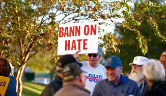 Demonstrators gathered near The Citadel in Charleston, S.C. on Friday, Nov. 10, 2017 where Steve Bannon, the former chief strategist to President Donald Trump, was invited to appear at an event. (Wade Spees/The Post And Courier via AP)