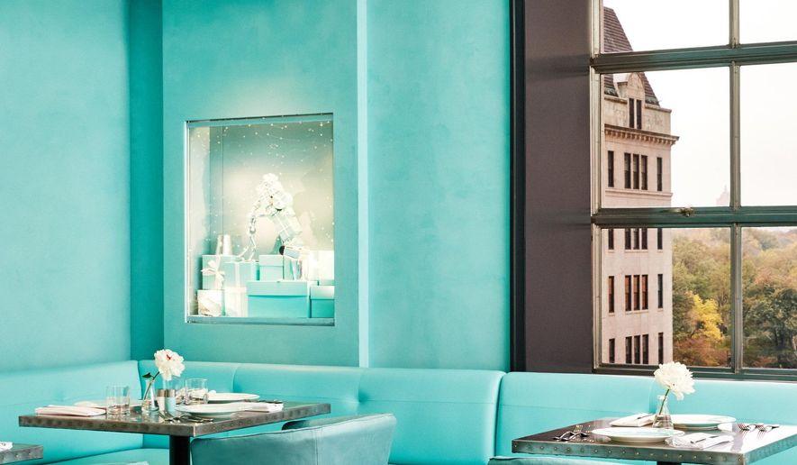 This undated handout photo provided by Tiffany & Co. shows the Blue Box Cafe restaurant, which opened to the public on Nov. 10, 2017, at the jewelry retail chain's flagship Fifth Avenue store in New York. (Tiffany & Co. via AP)