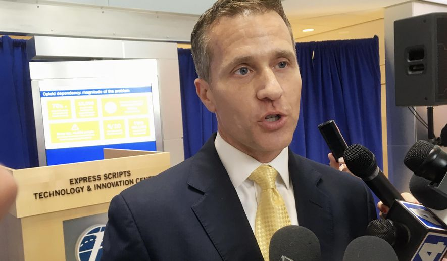 FILE - In this July 17, 2017 file photo, Missouri Gov. Eric Greitens speaks to reporters in St. Louis. Greitens announced an executive order that day, establishing a prescription drug monitoring program for Missouri, the last state without such a program. But nearly four months later, the program is still not in place. (AP Photo/Jim Salter)