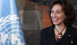 UNESCO'S new elected director-general France's Audrey Azoulay attends a press conference at the United Nations Educational, Scientific and Cultural Organisation, UNESCO headquarters in Paris, Friday, Nov. 10, 2017. UNESCO's member states have voted to confirm the nomination of former French Culture Minister Audrey Azoulay as the body's new leader. (AP Photo/Christophe Ena)