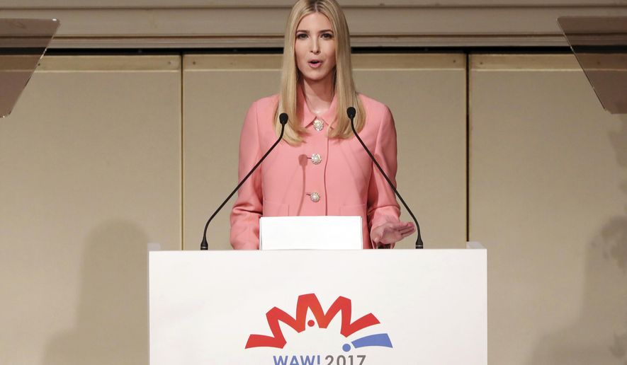Ivanka Trump, the daughter and advisor to U.S. President Donald Trump, delivers a speech at World Assembly for Women: WAW! 2017 conference in Tokyo Friday, Nov. 3, 2017. (AP Photo/Eugene Hoshiko, Pool)