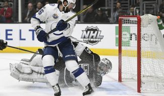 Tampa Bay Lightning right wing Nikita Kucherov, of Russia, scores past Los Angeles Kings goalie Jonathan Quick during the first period of an NHL hockey game, Thursday, Nov. 9, 2017, in Los Angeles. (AP Photo/Michael Owen Baker)