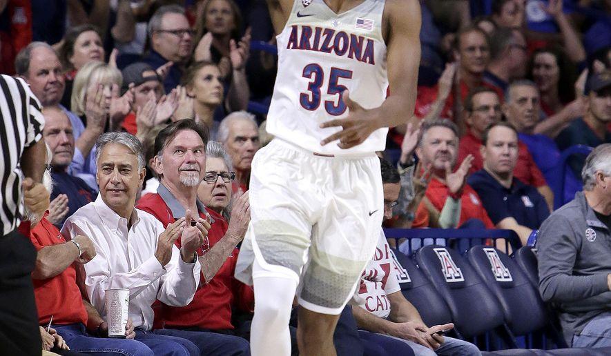 Arizona guard Allonzo Trier (35) in the first half during an NCAA college basketball game against Northern Arizona, Friday, Nov. 10, 2017, in Tucson, Ariz. (AP Photo/Rick Scuteri)