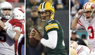 FILE - From left are 2017 file photos showing Arizona Cardinals quarterback Drew Stanton (5),  Green Bay Packers quarterback Brett Hundley and San Francisco 49ers quarterback C.J. Beathard. The shakeup under center around the league has left the position a mish-mosh of big names, no names, youngsters and veterans who may or may not be part of their teams' futures. (AP Photo/File)