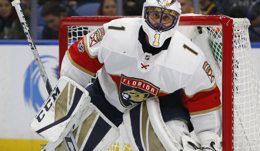 Florida Panthers goalie Roberto Luongo (1) looks on during the first period of an NHL hockey game against the Buffalo Sabres, Friday Nov. 10, 2017, in Buffalo, N.Y. (AP Photo/Jeffrey T. Barnes)