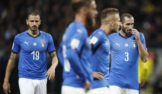 From left, Italy's Leonardo Bonucci, Daniele De Rossi, Ciro Immobile and Giorgio Chiellini react during the World Cup qualifying play-off first leg soccer match between Sweden and Italy, at the Friends Arena in Stockholm, Friday, Nov. 10, 2017. (AP Photo/Frank Augstein)