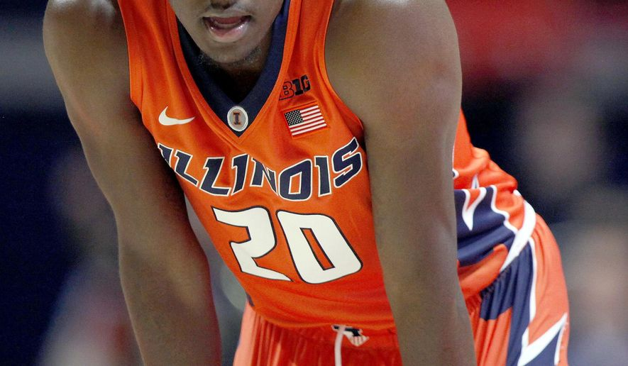 Illinois guard Da'Monte Williams (20) catches his breath during the first half of an NCAA college basketball game against Southern University at the State Farm Center, Friday, Nov. 10, 2017, in Champaign, Ill. (AP Photo/Stephen Haas)