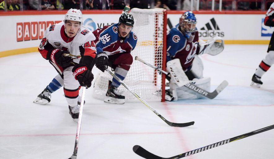 Ottawa Senators' Jean-Gabriel Pageau during the NHL Global Series hockey game between Colorado Avalanche and Ottawa Senators at Ericsson Globe in Stockholm, Friday Nov. 10, 2017. (Erik Simander/TT via AP)