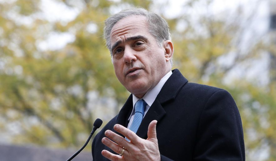 In this Nov. 9, 2017, photo, Veterans Affairs Secretary David Shulkin speaks during the U.S. World War I Centennial Commission ceremonial groundbreaking for the National World War I Memorial at Pershing Park in Washington. (AP Photo/Jacquelyn Martin) ** FILE **