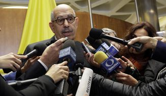Director General Emeritus of the Intenational atomic Energy Agency and Nobel Peace laureate Mohamed ElBaradei talks to reporters during a break of a conference on nuclear disarmament, at the Vatican, Friday, Nov. 10, 2017. The Vatican hosted Nobel laureates, U.N. and NATO officials and a handful of nuclear powers at a conference aimed at galvanizing support for a global shift from the Cold War era policy of nuclear deterrence to one of total nuclear disarmament.(AP Photo/Andrew Medichini3