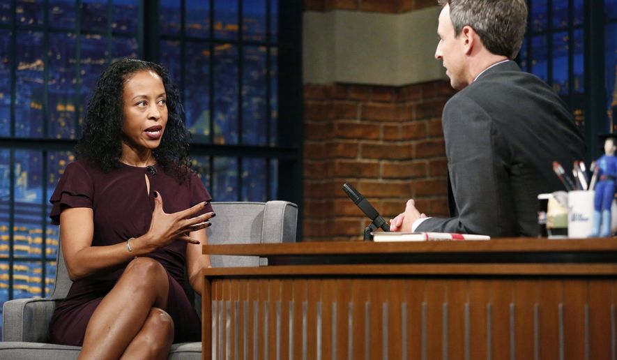 "In this photo provided by NBC, writer Ladee Hubbard talks with host Seth Meyers during an interview on Oct. 10, 2017, in New York. The debut novel of Hubbard, a New Orleans writer, has earned her recognition with this year's Ernest J. Gaines Award for Literary Excellence.  Hubbard will be presented with the $10,000 award at a public ceremony in January for her work, ""The Talented Ribkins.""   (Lloyd Bishop/NBC via AP)"
